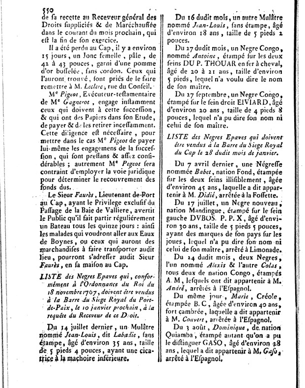 Liste des Negres Epaves, 17 November 1773, Affiches Américaines, 550.