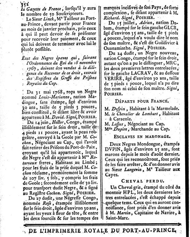 Liste des Negres Epaves, Affiches Américaines, 26 October 1768, 352.png