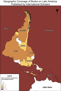 Map showing the geographic coverage of books on Latin America published by international scholars.