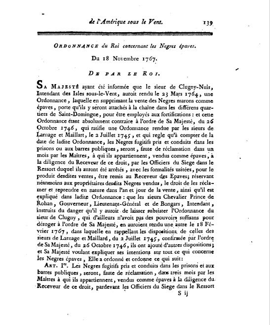 Ordonnance du Roi, 18 November 1767.