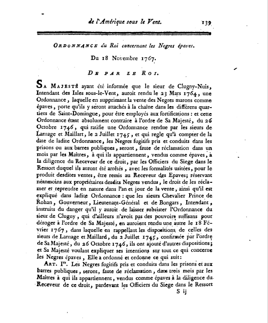 Ordonnance du Roi, 18 November 1767, Loix, Vol 5