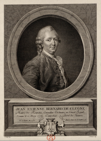 Black and white engraving of Jean Etienne Bernard de Clugny.