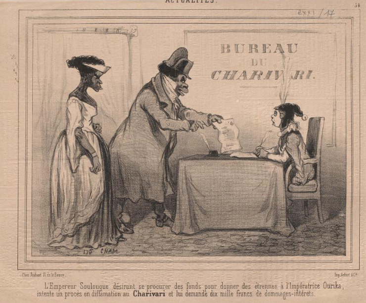 Caricature of Emperor Faustin Soulouque I and Emperess Ourika standing in front of a desk demanding funds to a sitting Charivari.
