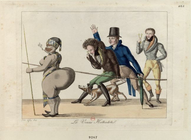 Caricature picturing the Vénus Hottentote standing behind a rope and being observed by three men.