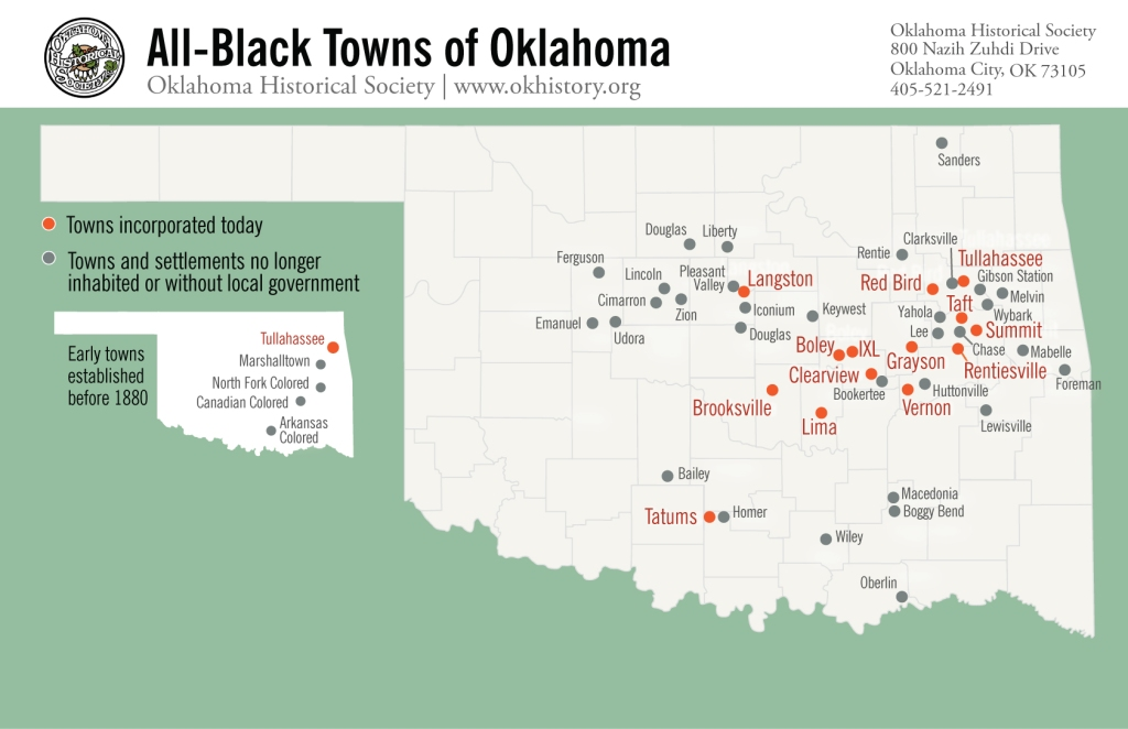Map of Oklahoma showing incorporated towns and towns without government or inhabited.