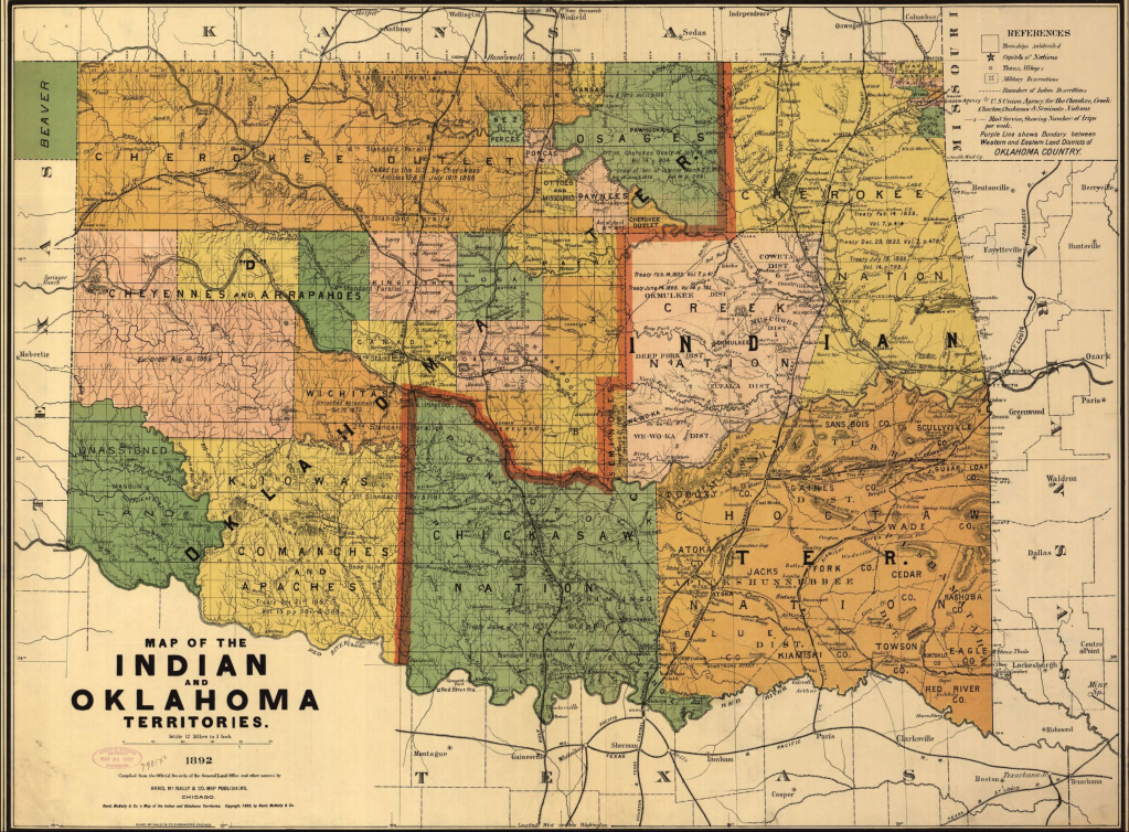 Map of Oklahoma highlighting Indian Territories in 1892.
