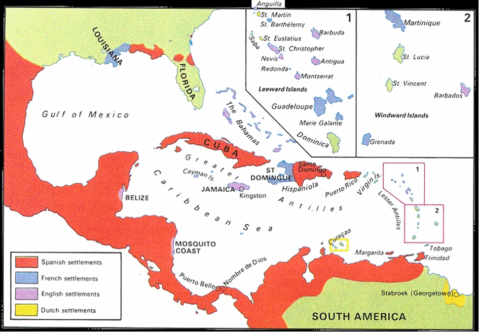 Map of the European colonies in the Caribbean in the 18th century.