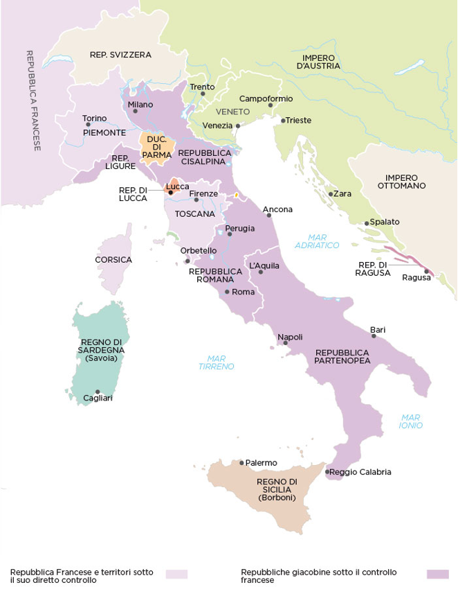 Map of Italy in 1799.