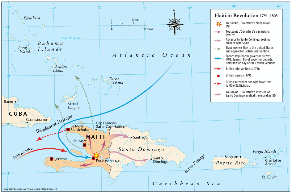 Map of the island of Hispaniola.