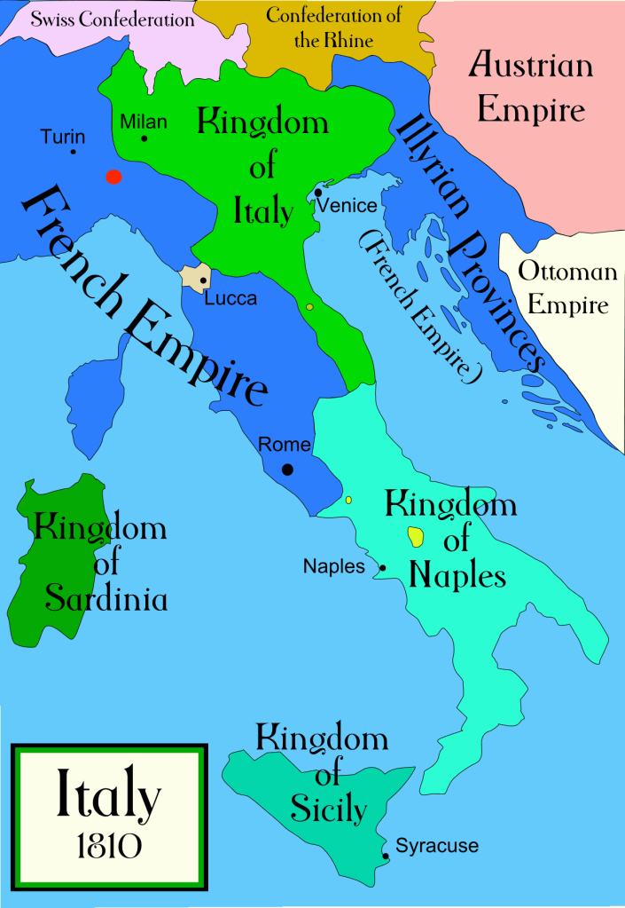 Map of Italy under Napoleon in 1810.