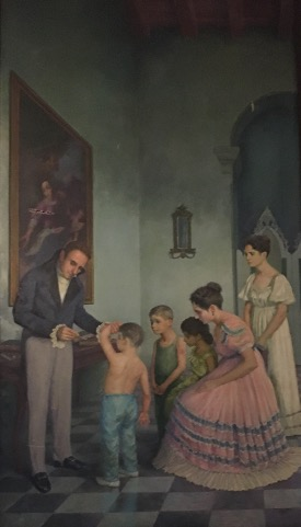 Painting of Tomás Romay vaccinating his sons in front of his family.