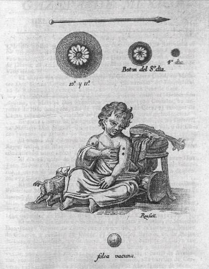 Engraving of a vaccinated child.