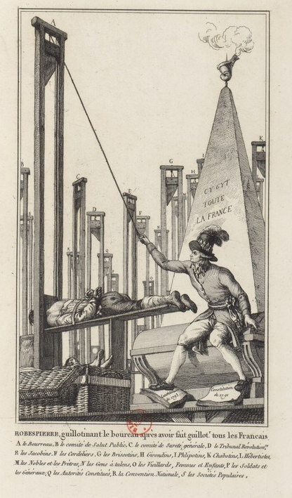 Robespierre being guillotined.
