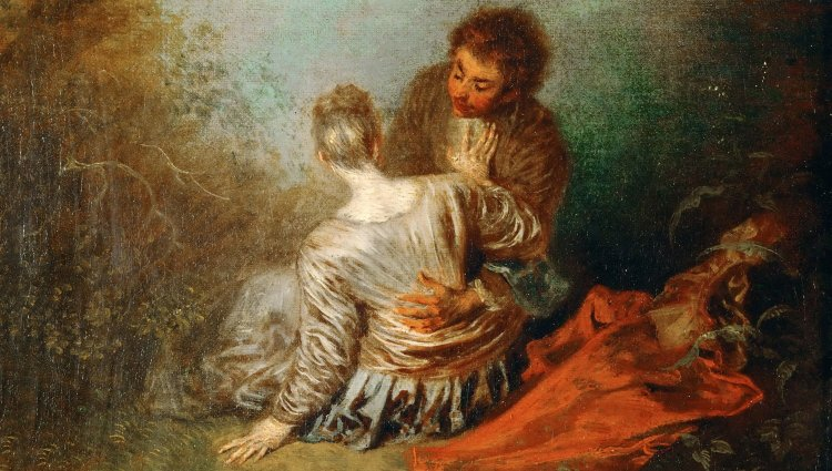 Painting of a man and a woman laying on a blanket