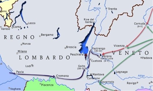 Map of Italy showing the first and second phases of the Italian War of Independence.