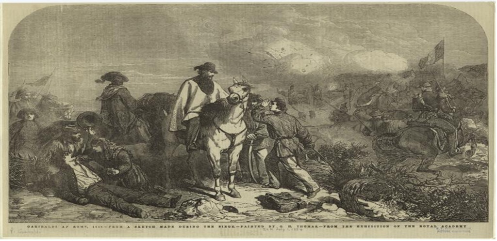 Engraving of a battle scene with men on horses.