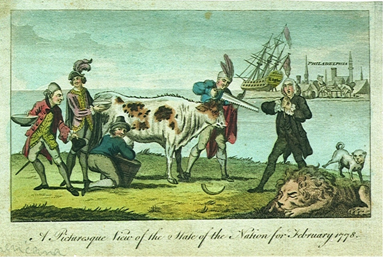 Drawing of multiple men milking a cow.