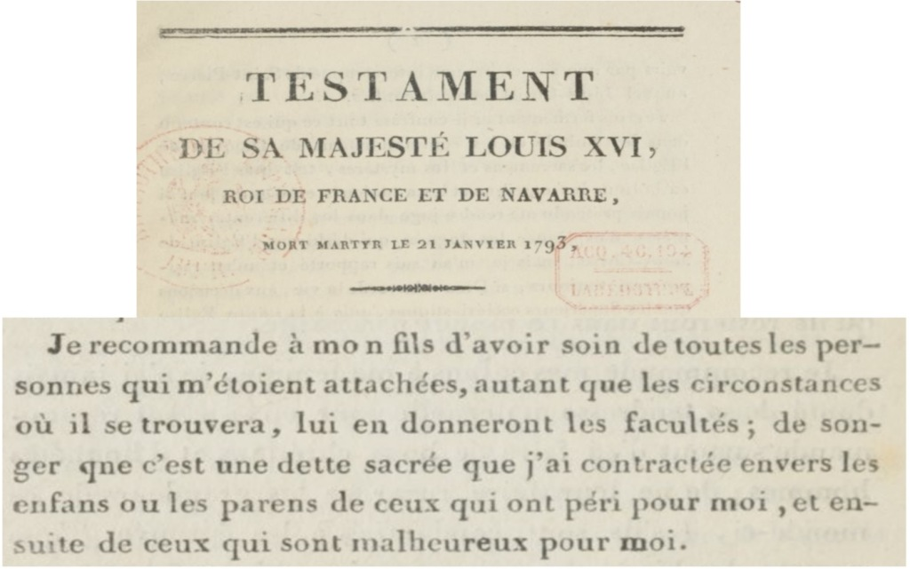 Printed text of the will of King Louis XVI.