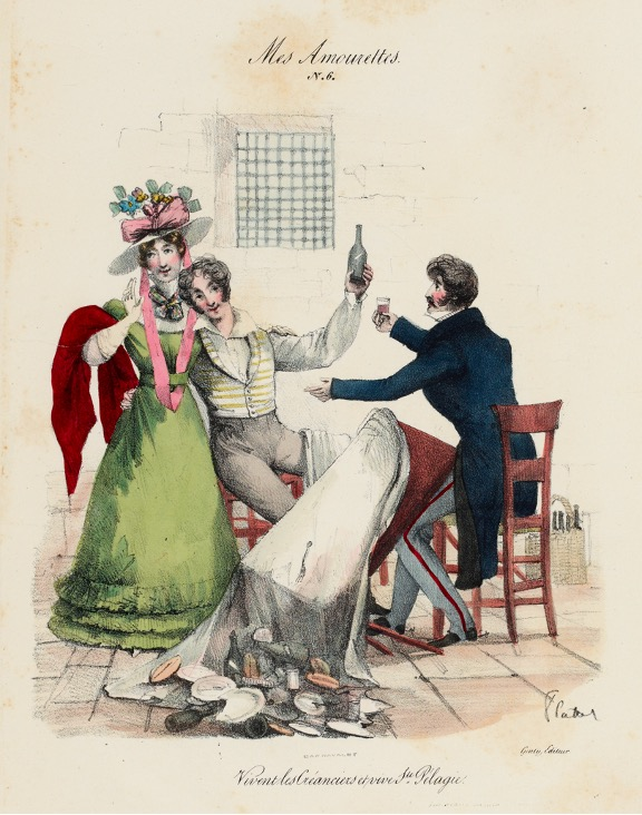 Drawing of two men and a woman drinking around a broken table.